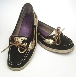 Black and gold sperry topsider with glitter sides
